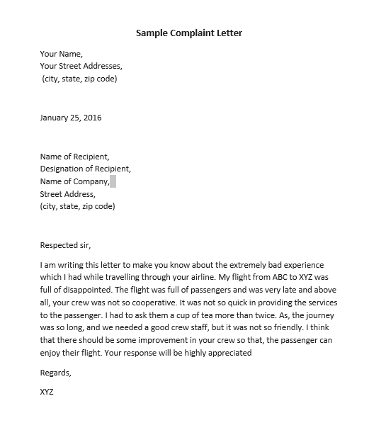Formal Complaint Letter Sample from www.msofficedocs.com