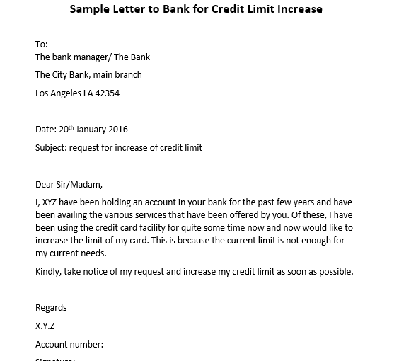 Sample Letter regarding Credit Card