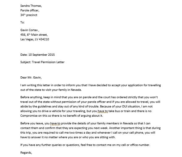 Sample Permission Letter