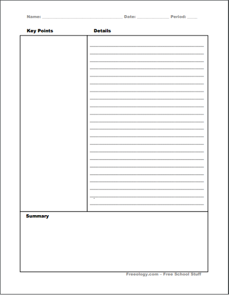 Cornell Notes - Printable PDF Sheet 03