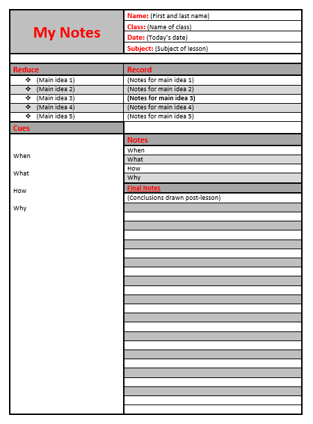 Cornell Notes Word Template 06