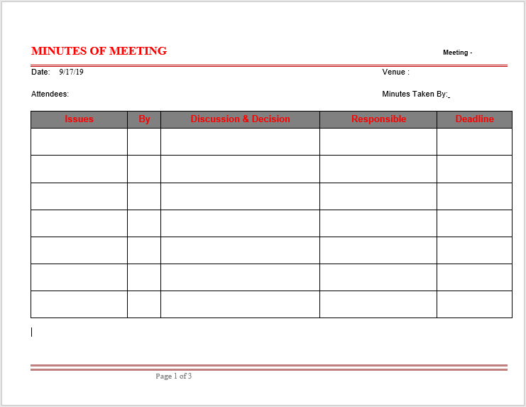 Meeting Minutes Template 005