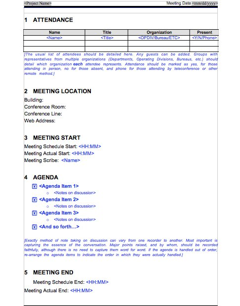 Meeting Minutes Template 014