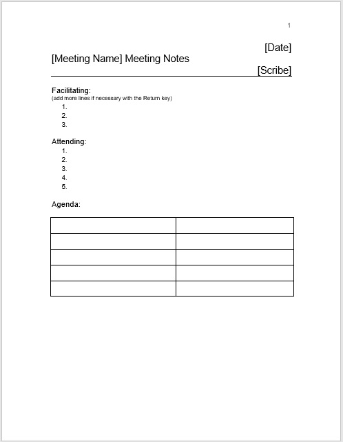 Meeting Minutes Template 016