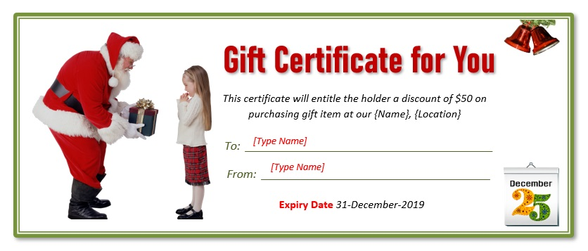 Christmas Gift Certificate Template 04