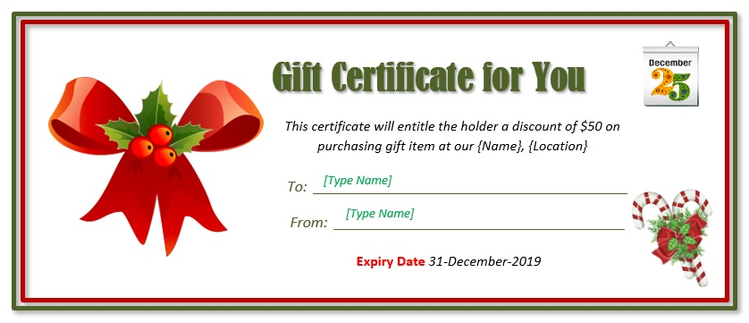Christmas Gift Certificate Template 09