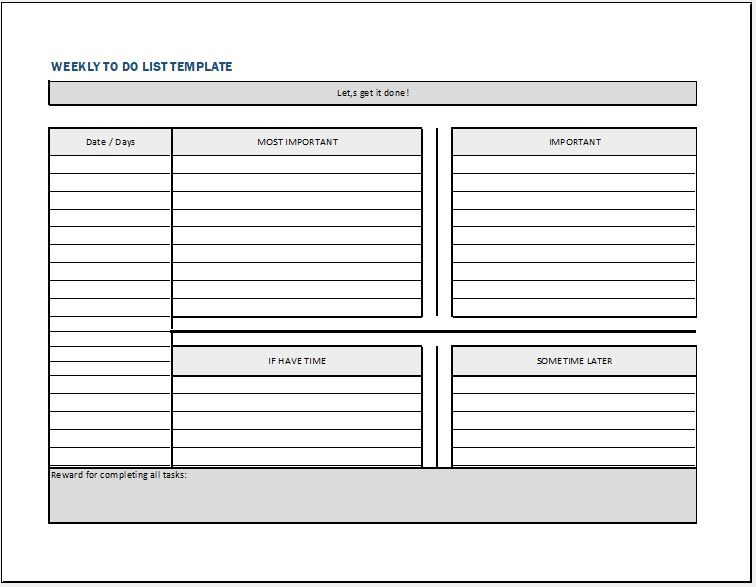 20  free weekly to do list templates