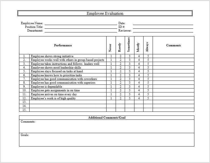 Employee Evaluation Form 02