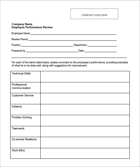 Employee Evaluation Form 08