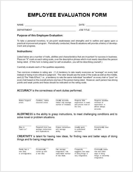 Employee Evaluation Form 20