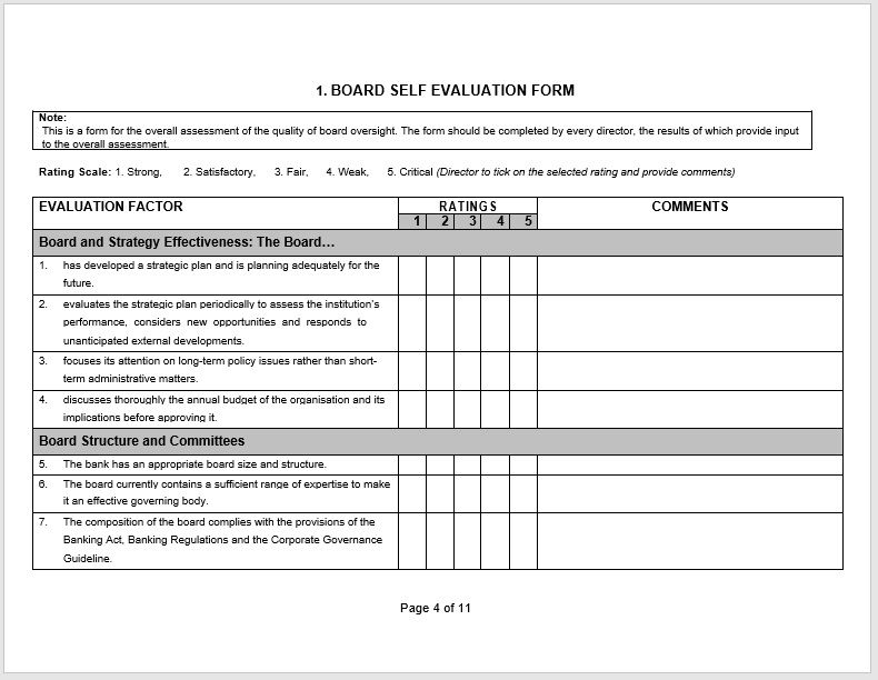 self evaluation form 16