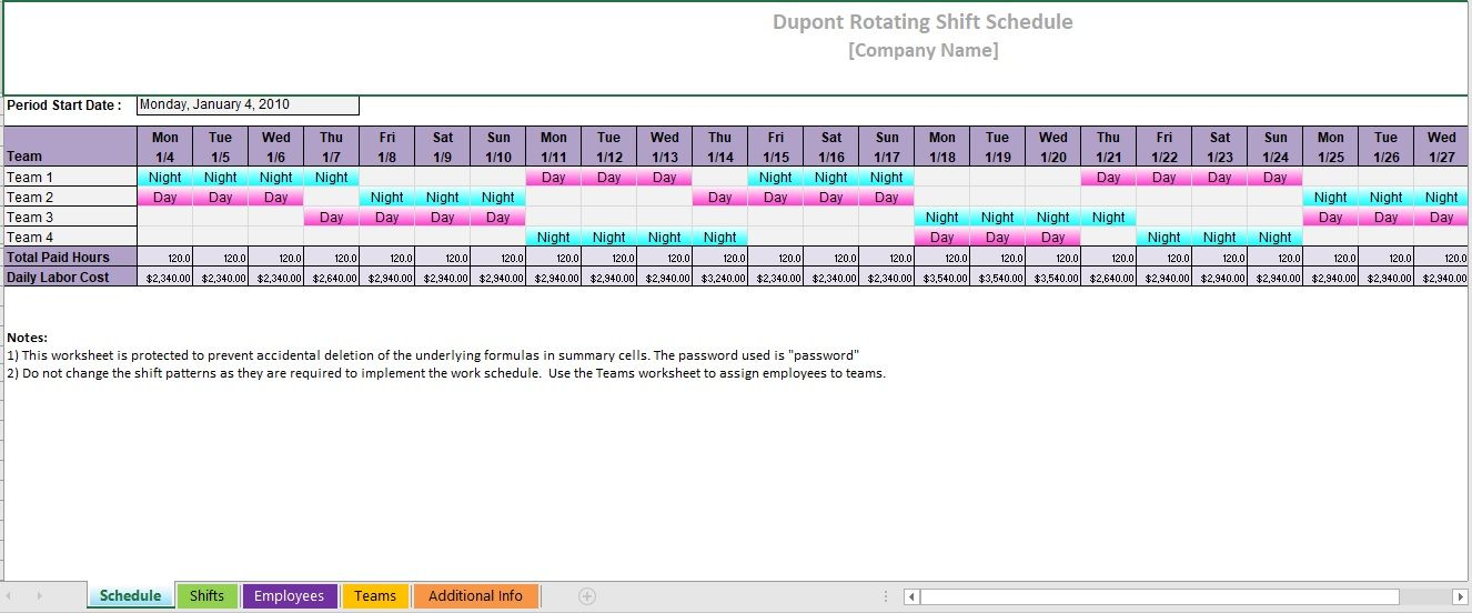 Dupont Schedule Template 07
