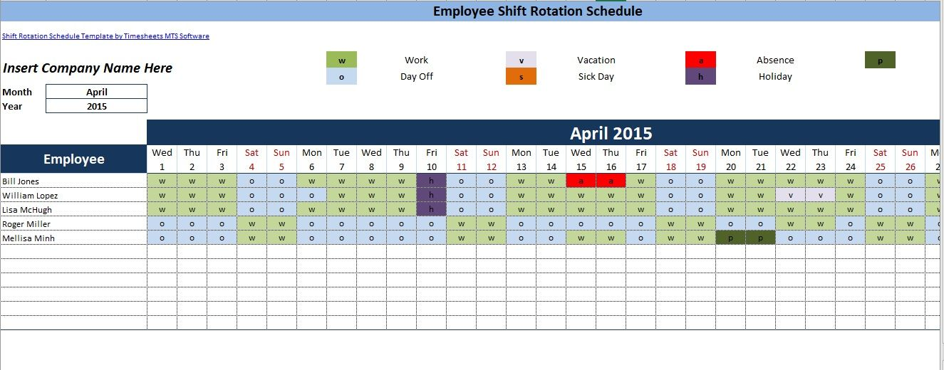 Dupont Schedule Template 09