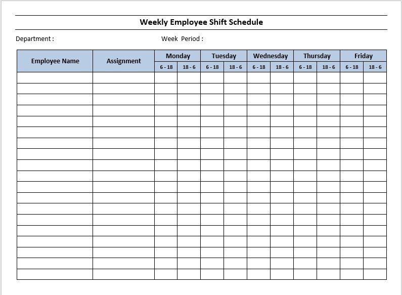 Dupont Schedule Template 10