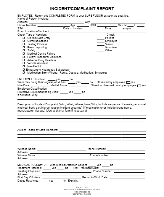 Incident Report Template 01