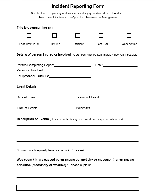 Incident Report Template 06