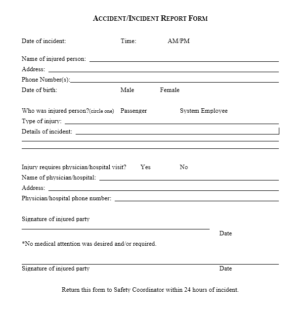 Incident Report Template 07