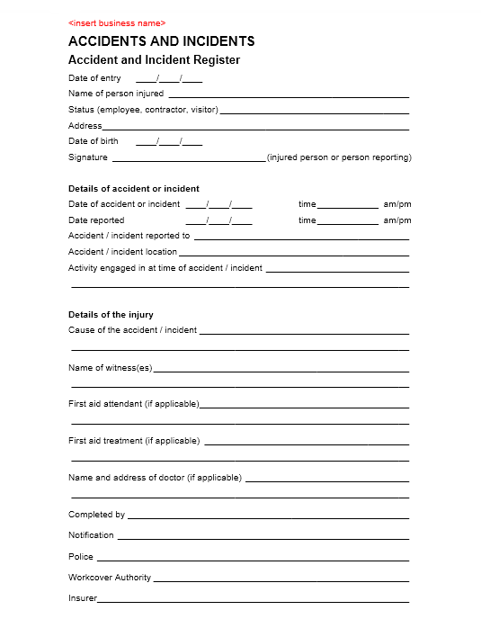 Incident Report Template 20