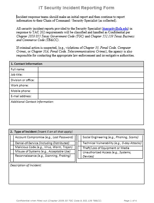 Incident Report Template 22