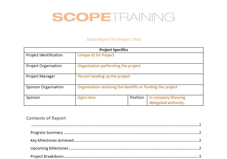 status report template 02