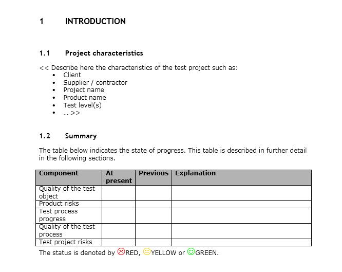 status report template 15