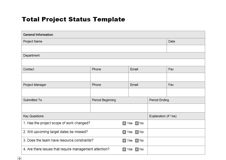 status report template 19