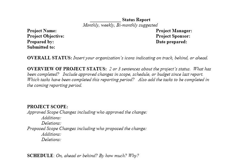 status report template 20