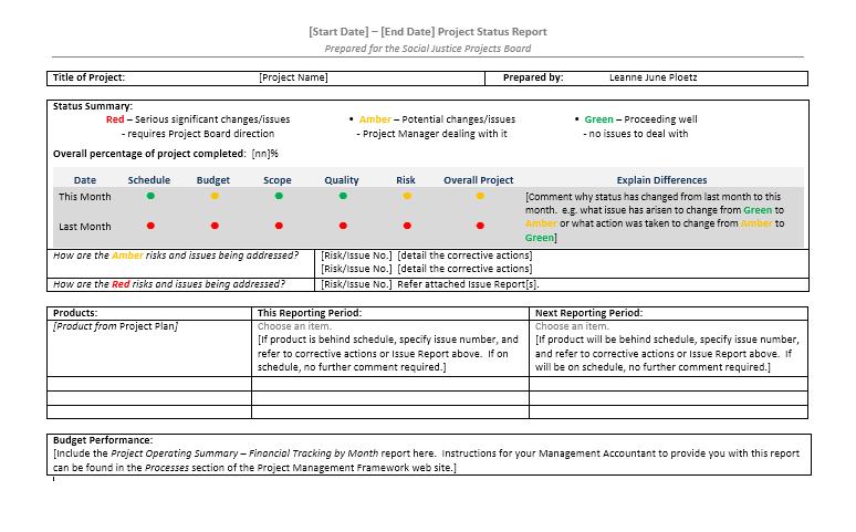 status report template 21