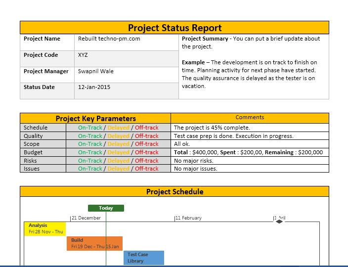 status report template 22