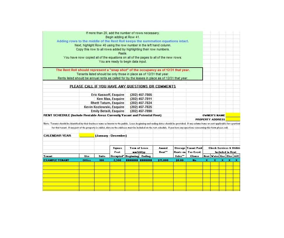 Rent Roll Form 03
