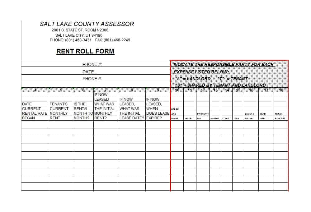 Rent Roll Form 15