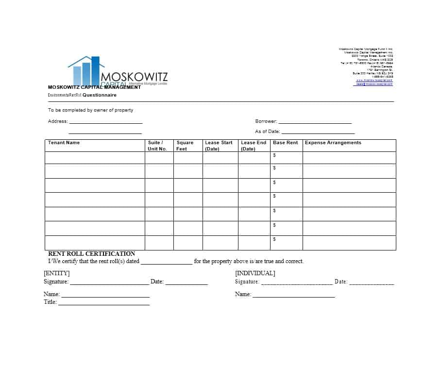 Rent Roll Template 31