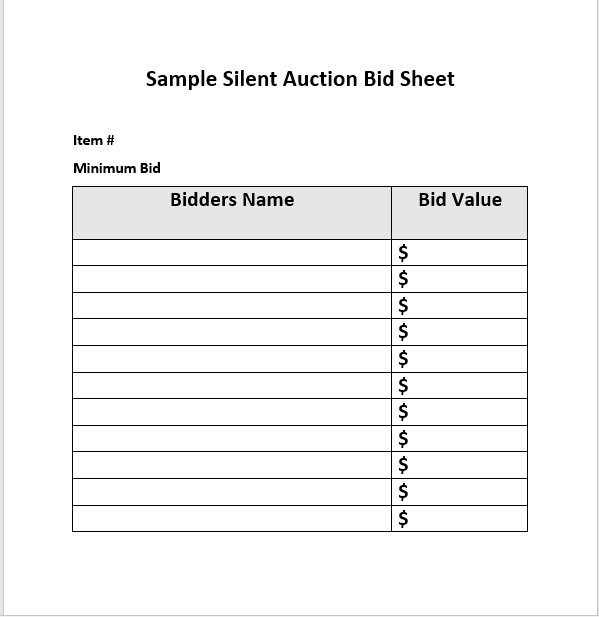 Silent Auction Bid Sheet 01