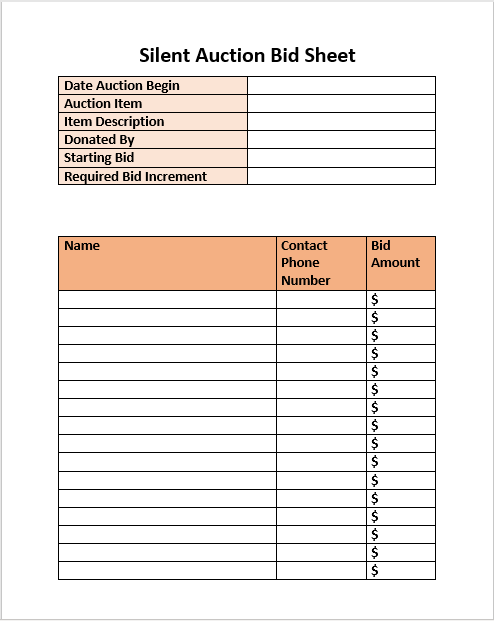 Silent Auction Bid Sheet 02
