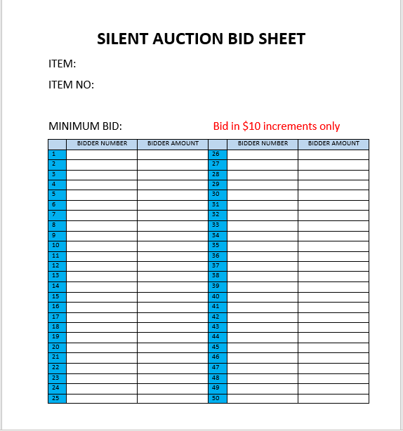Silent Auction Bid Sheet 03