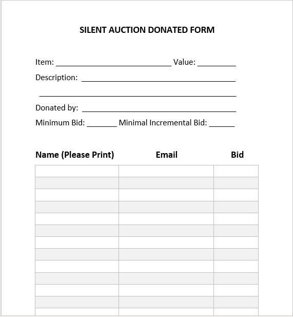 Silent Auction Bid Sheet 05