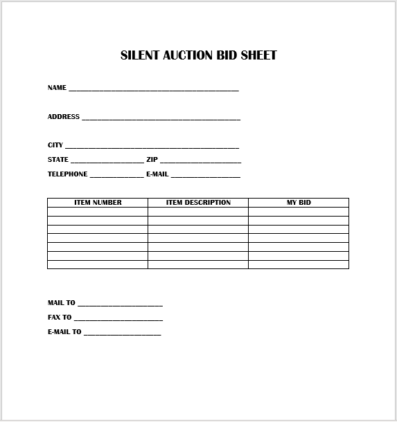 Silent Auction Bid Sheet 07