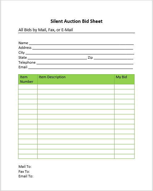 Silent Auction Bid Sheet 08