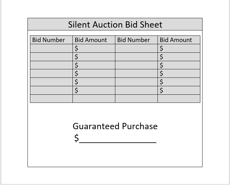 Silent Auction Bid Sheet 10
