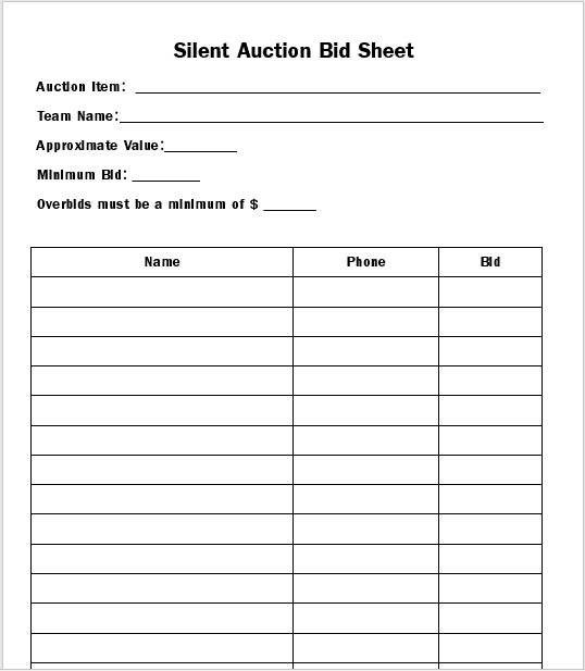 Silent Auction Bid Sheet 11