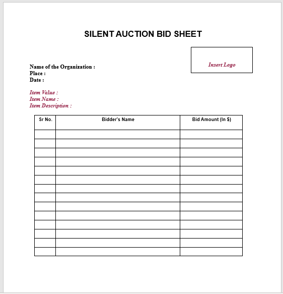 Silent Auction Bid Sheet 15