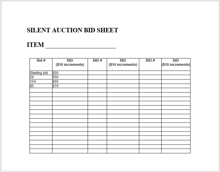 Silent Auction Bid Sheet 18