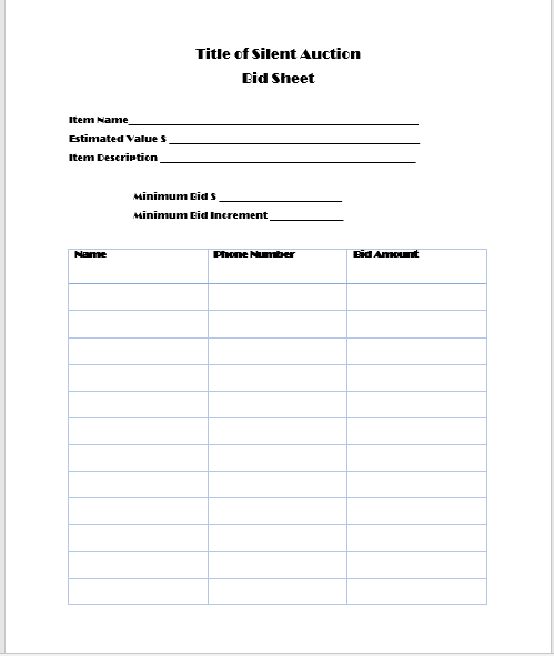 Silent Auction Bid Sheet 19