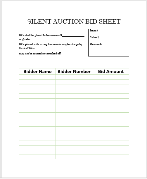 Silent Auction Bid Sheet 21