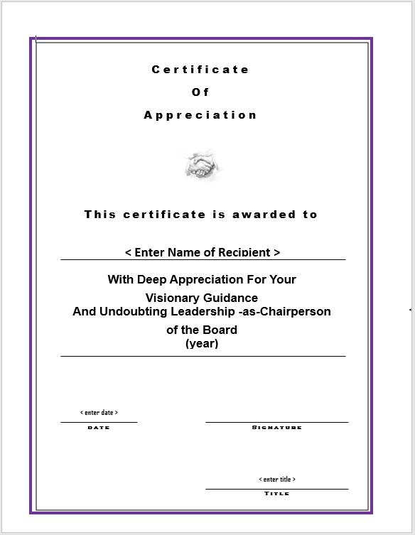 Certificate of Appreciation 10