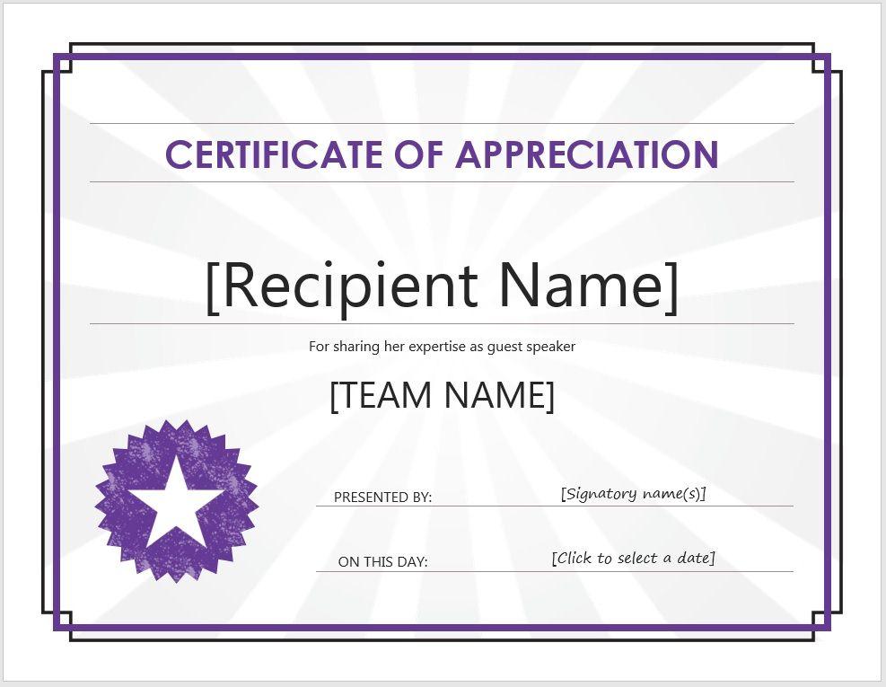 Certificate of Appreciation 14