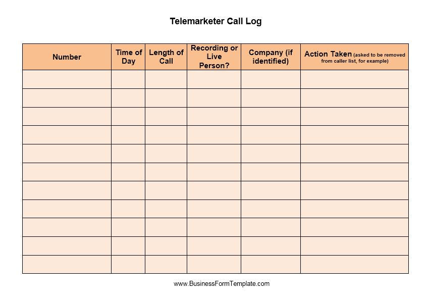 call log template 06