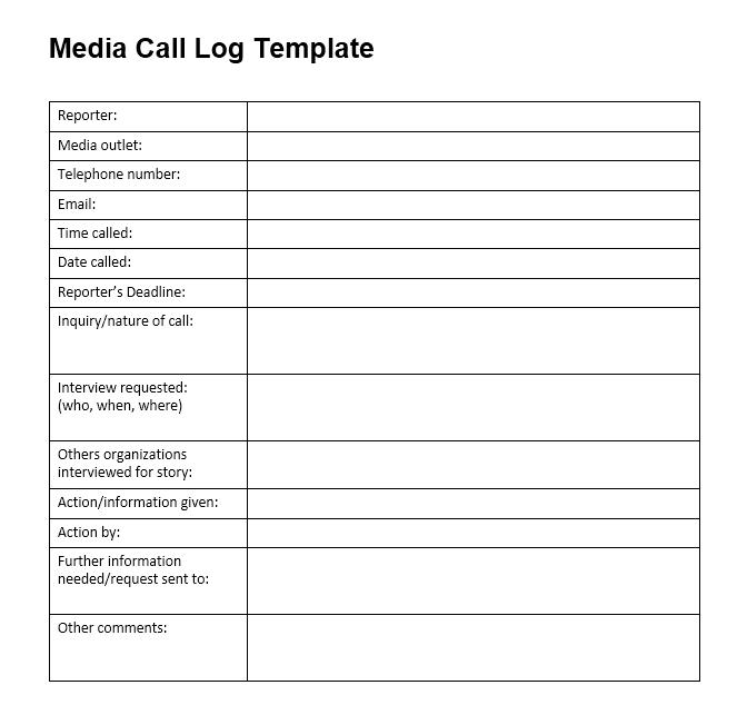 call log template 08