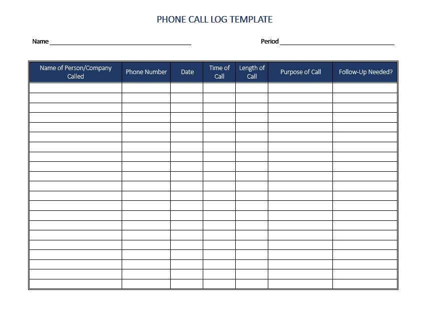 call log template 09