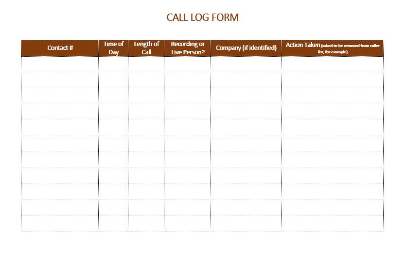 call log template 13